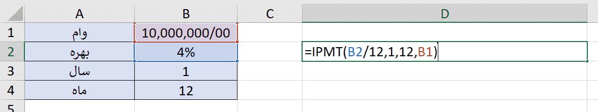 CUMIPMT, IPMT, بهره وام, تابع CUMIPMT در اکسل, تابع IPMT در اکسل, تابع IPMT و CUMIPMT در اکسل
